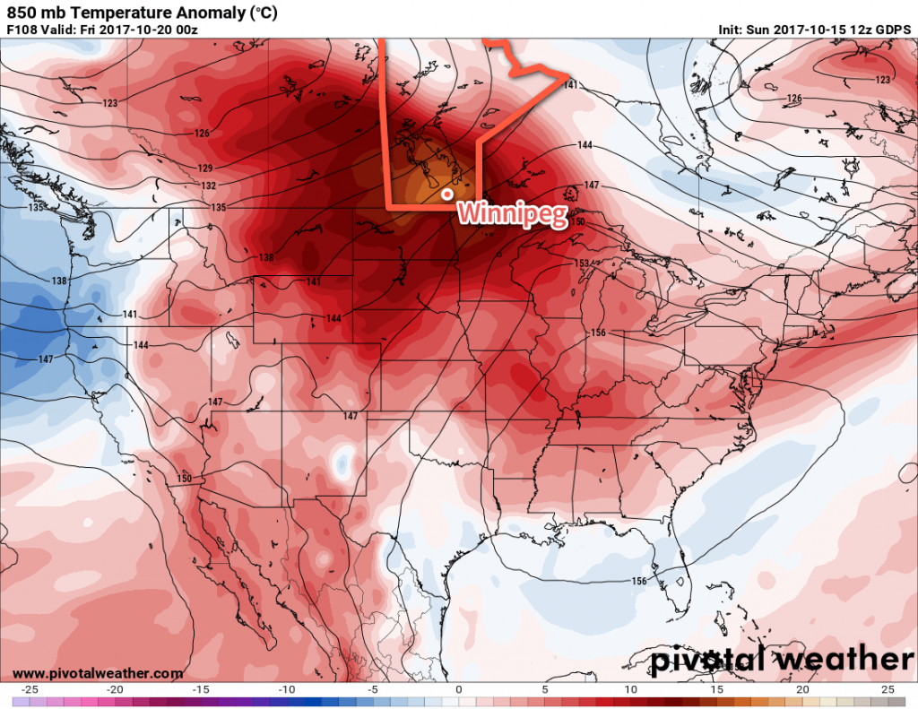 GDPS Forecast 850mb Temperature Anomalies valid 00Z Wednesday Friday 20, 2017