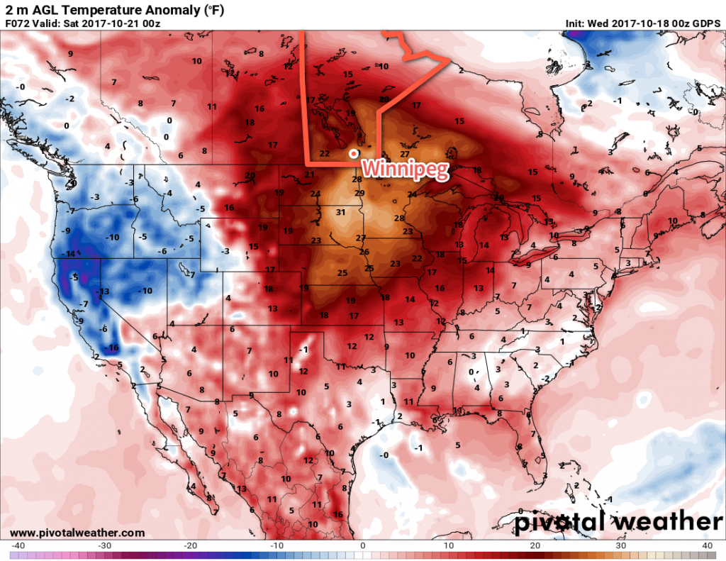 GDPS Forecast 2m Temperature Anomaly valid 00Z Saturday October 21, 2017