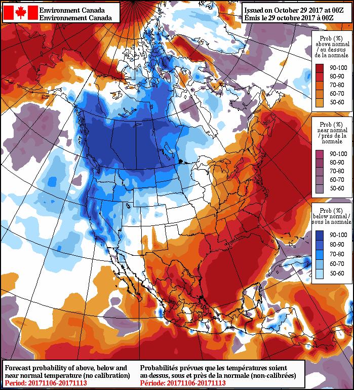 NAEFS 8-14 Day Temperature Anomaly Forecast —Valid November 6-13, 2017
