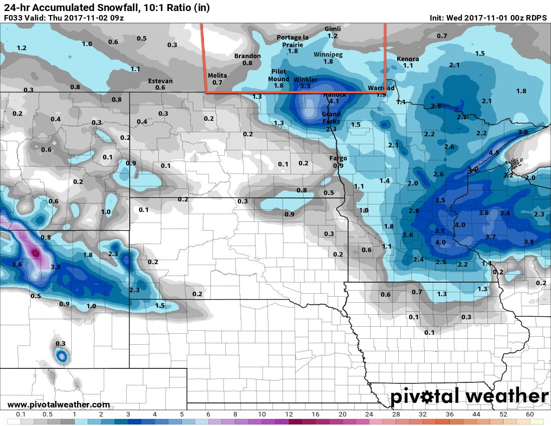 RDPS Forecast 24hr. Accumulated Snowfall w/10:1 SLR valid 09Z Thursday November 2, 2017