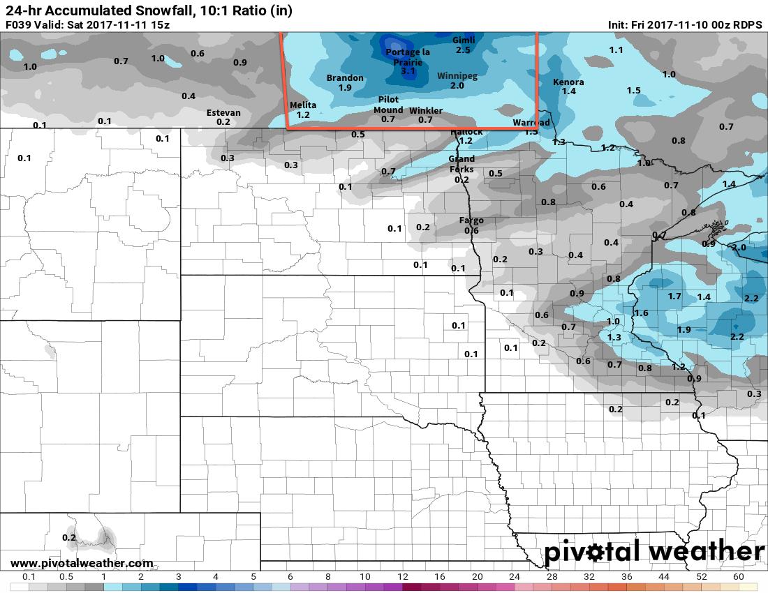RDPS Forecast 24hr. Snowfall valid 15Z Saturday November 11, 2017