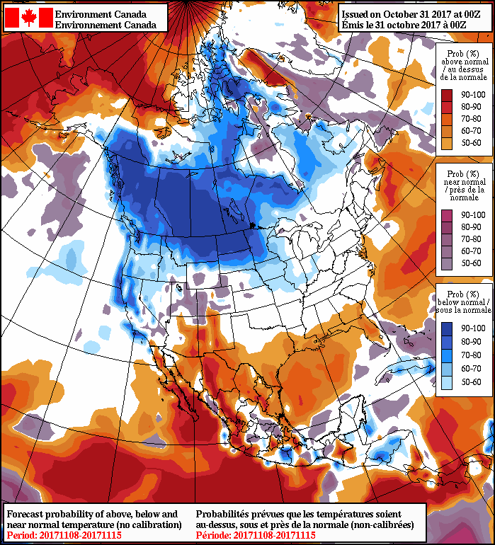 NAEFS 8-14 Day Temperature Anomaly Forecast — Valid November 8-15, 2017