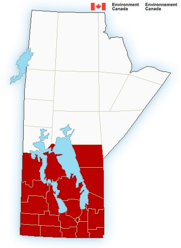 Southern Manitoba Wnaring Map – 4:00PM Friday November 3, 2017