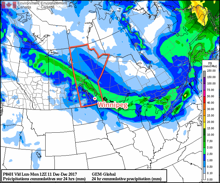 A low pressure system will bring 2 to 4 cm of snow along a swath of the Prairies as it moves through Sunday into Sunday night.