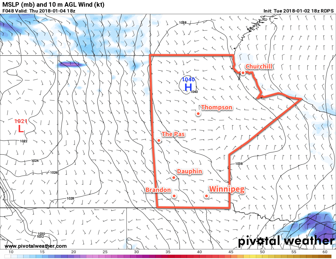 RDPS 2m Wind Speed Forecast with MSLP valid 18Z Thursday January 4, 2018