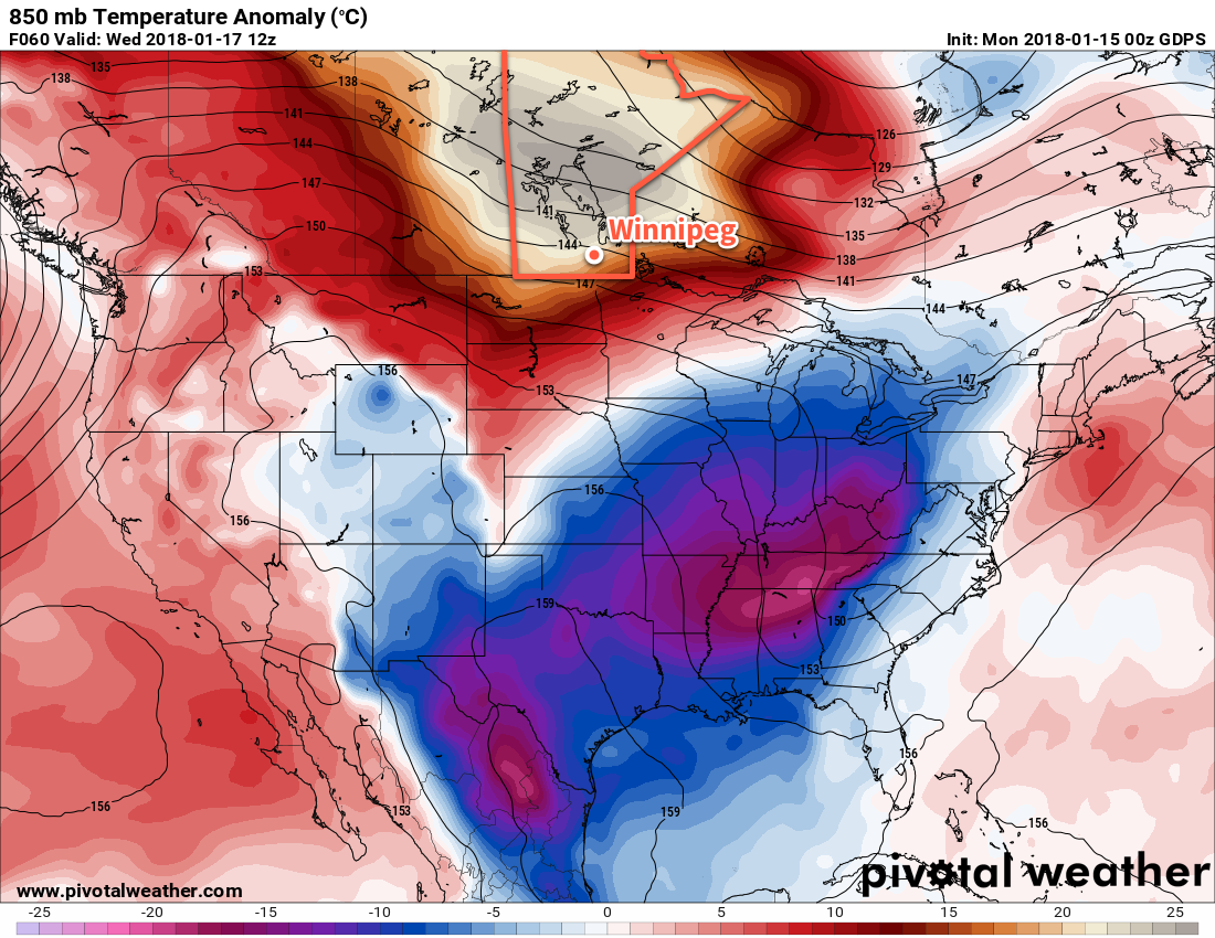 GDPS 850mb Temperature Anomaly Forecast valid 12Z Wednesday January 17, 2018