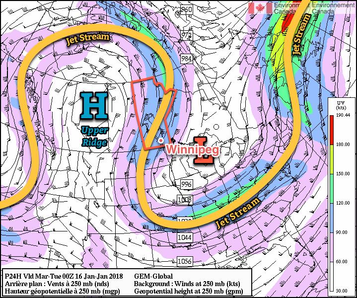RDPS 250mb Wind Forecast valid 00Z Tuesday January 16, 2018
