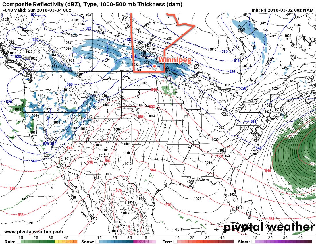 NAM forecast simulated reflectivity with precipitation type valid 00Z Sunday March 4, 2018