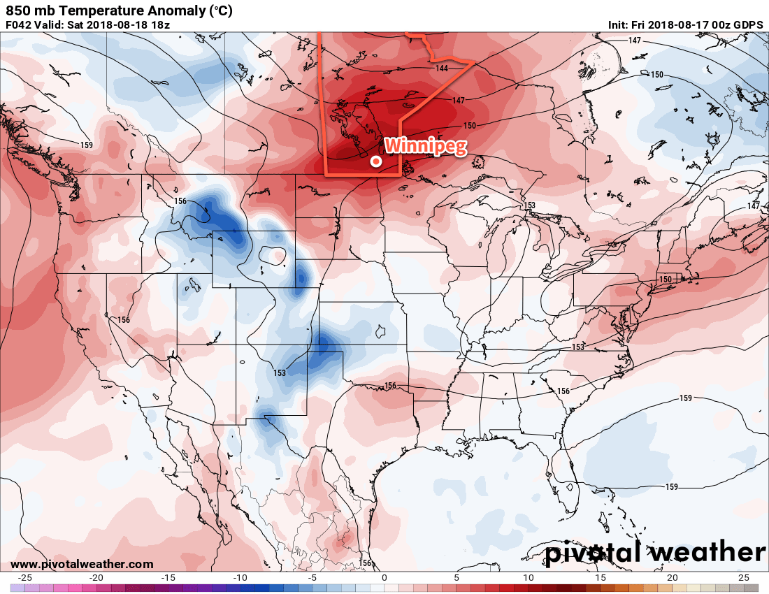 A low pressure system crossing the Prairies will likely bring unseasonably warm conditions to the region on Saturday