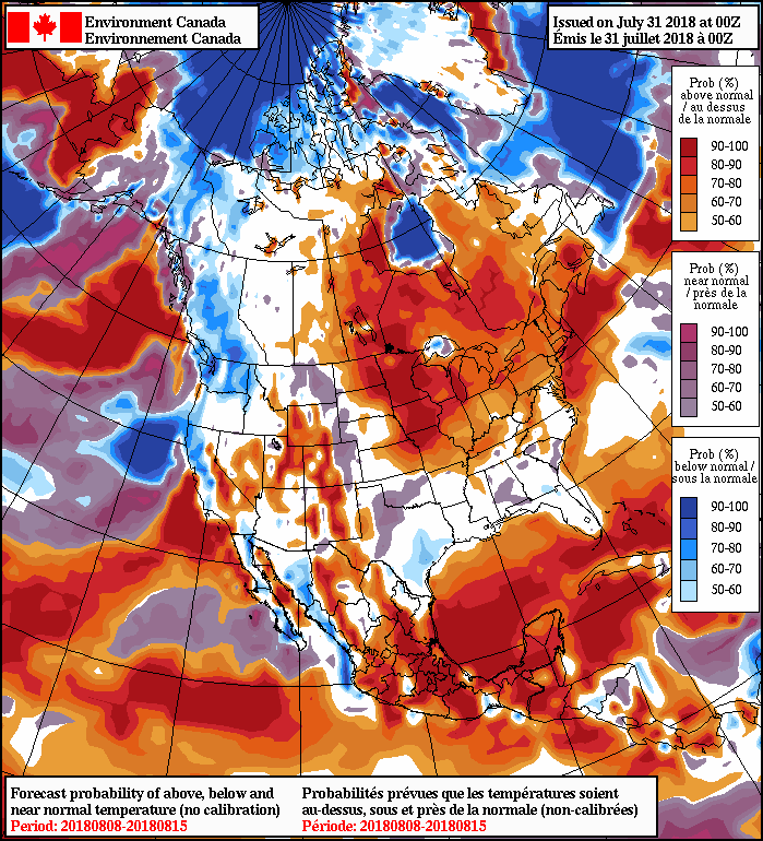 NAEFS 8-14 Day Temperature Anomaly Forecast — Valid August 8 to 15, 2018