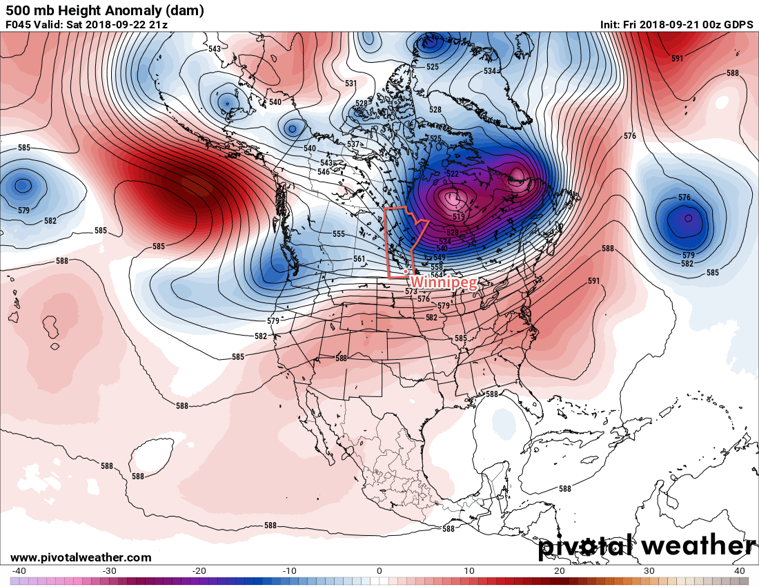 GDPS 500mb Height Anomaly Forecast valid 21Z Saturday September 22, 2018