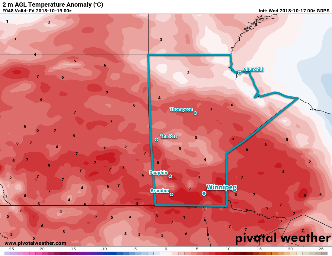 After weeks of cold, much of Manitoba will see temperatures climb 5-10°C above seasonal values on Thursday!