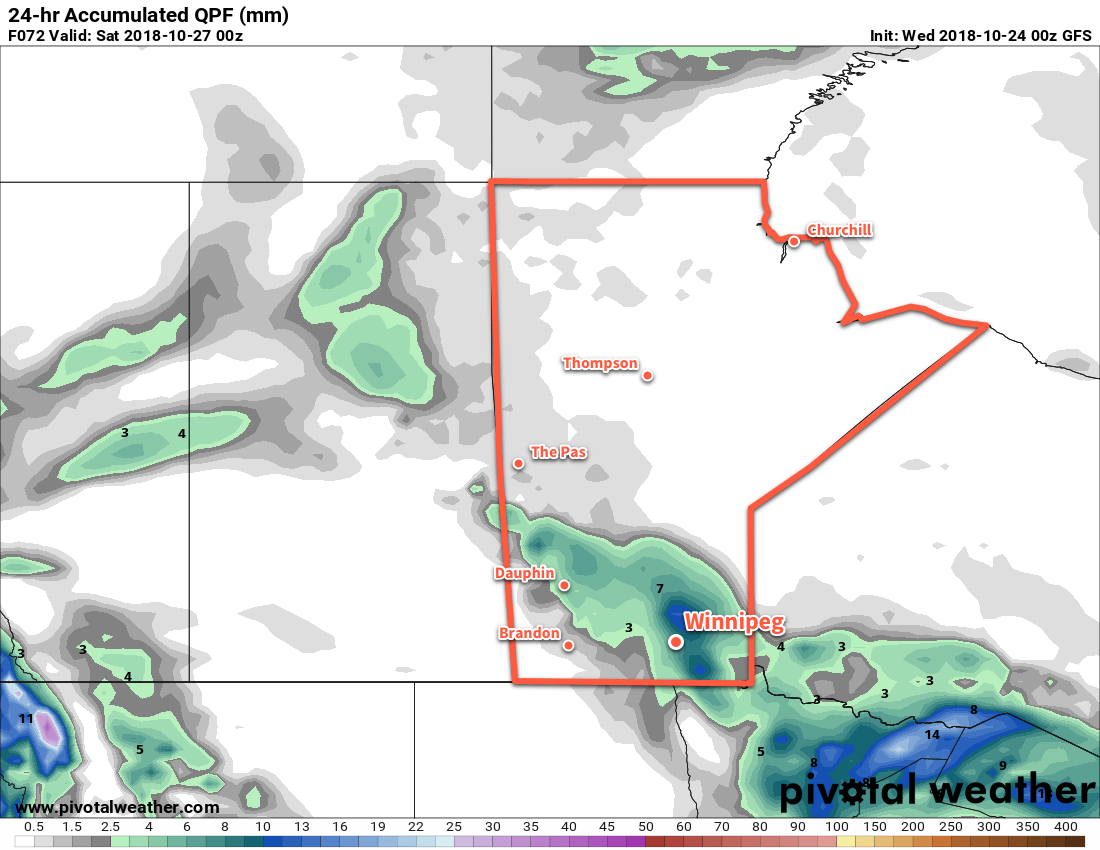 Winnipeg may see some organized light rain on Friday morning, however model confidence in the location of the rain is low.
