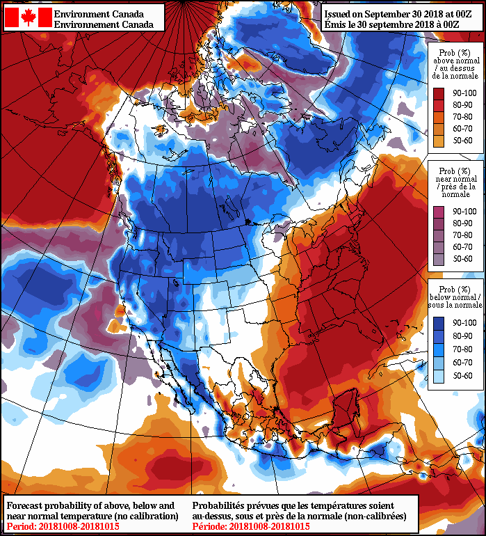 NAEFS 8-14 Day Temperature Anomaly Forecast —Valid October 8-15, 2018