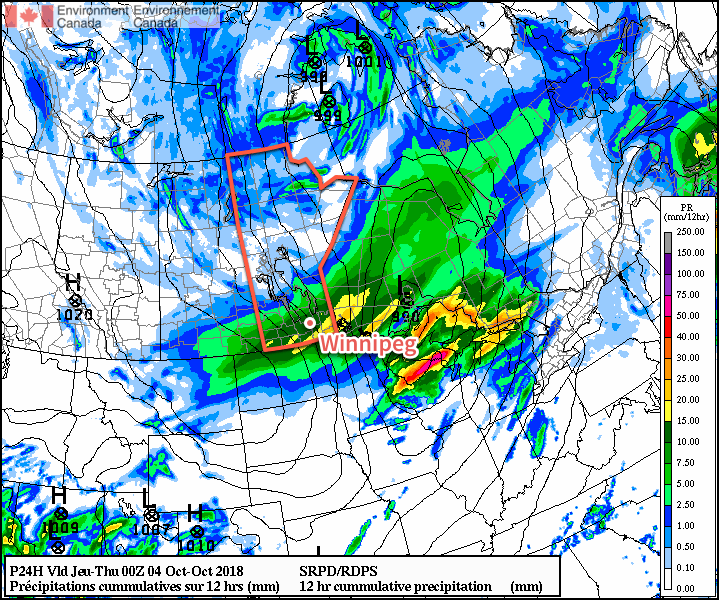 Southern Manitoba will see a swath of 10-15 mm of liquid-equivalent precipitation today; some of that will likely fall as snow.