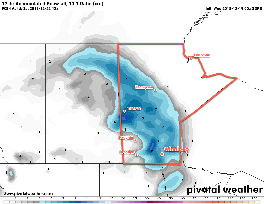 A broad area of snow will develop across Manitoba on Friday night.