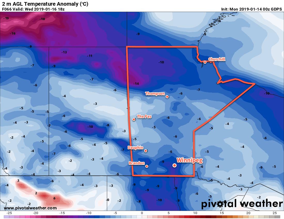 Temperatures will be near 10°C below seasonal in Winnipeg on Wednesday.