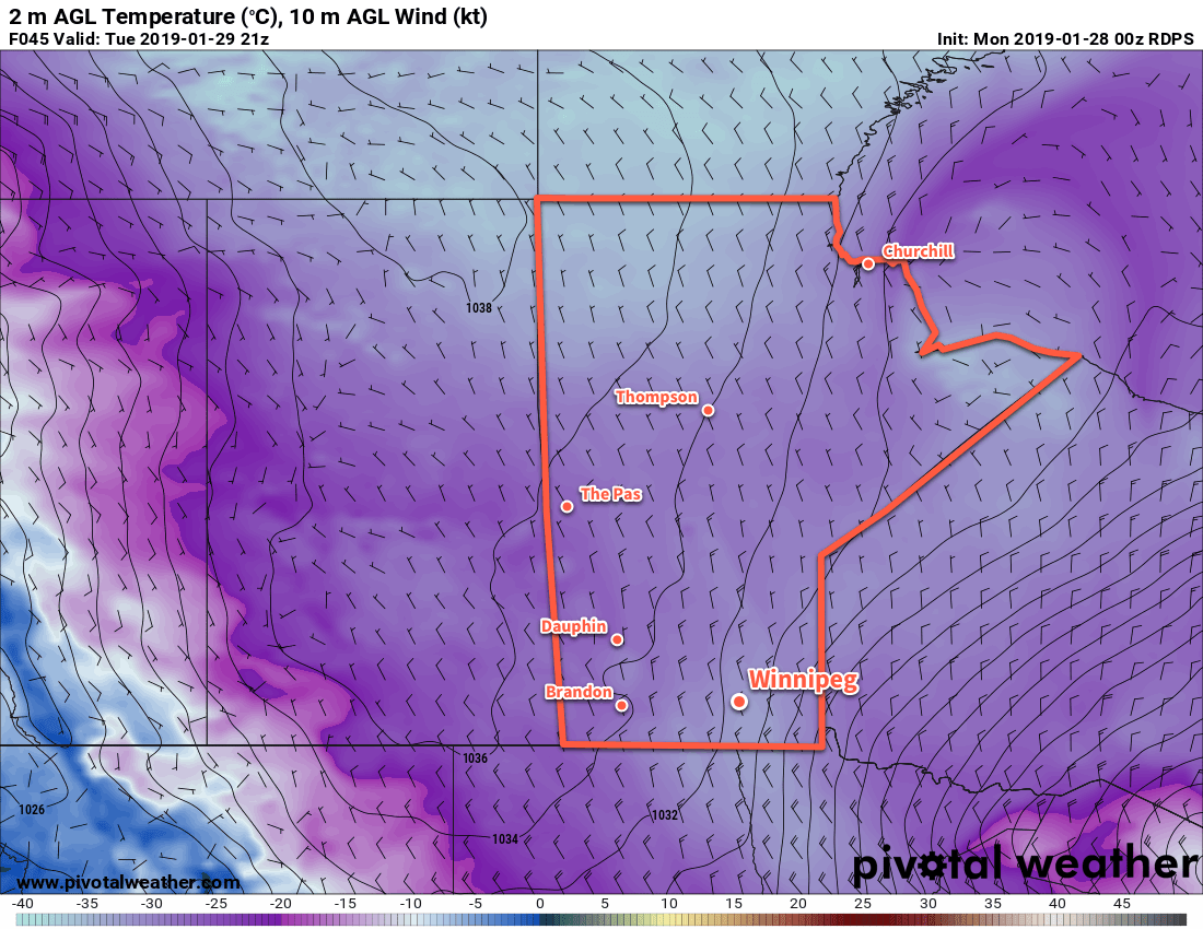Temperatures will struggle to climb to -30°C in the Red River Valley on Tuesday.