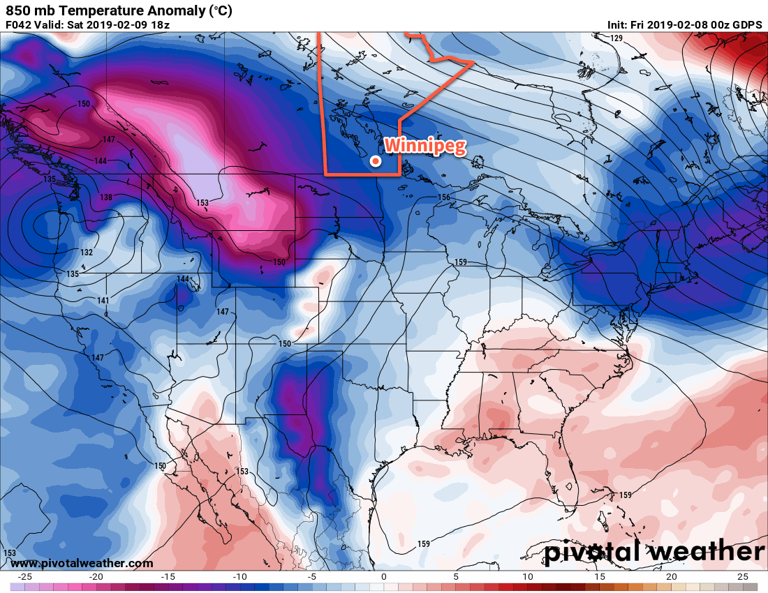 This map of 850mb temperature anomalies shows the wide extend of colder-than-seasonal temperatures across the Prairies.