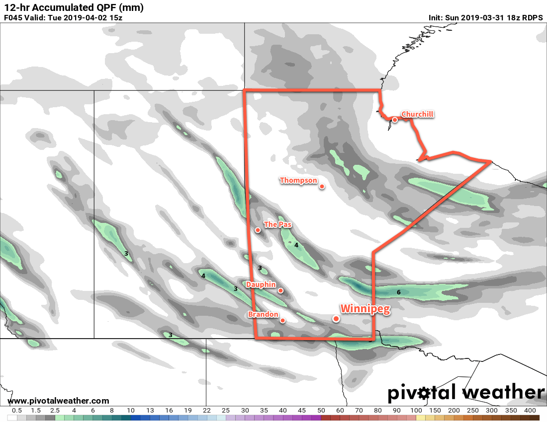Convectively driven flurries and/or showers will move across southern Manitoba on Tuesday morning.