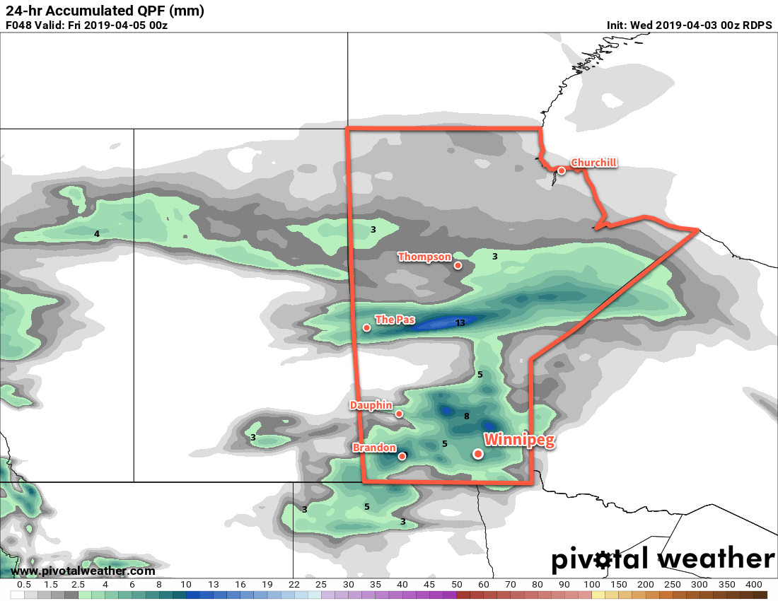 Much of southern Manitoba will see some amount of a sloppy wintery mix of precipitation on Thursday.