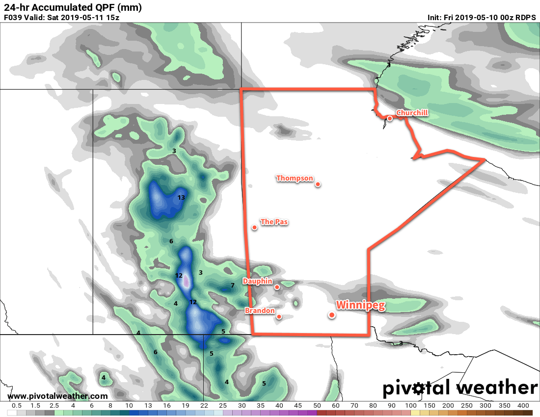 Any possible showers on Friday night will likely pass north of Winnipeg.