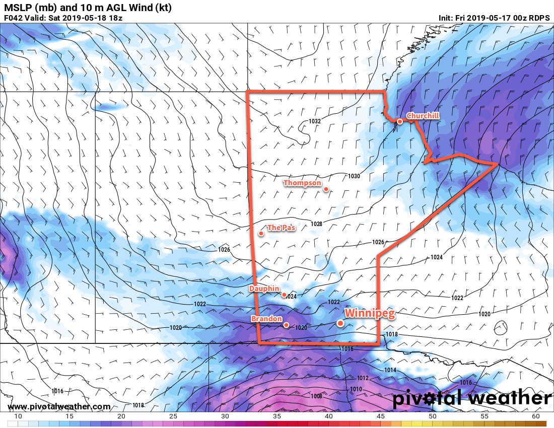 Winds will pick up on Saturday as the pressure gradient strengthens between a ridge of high pressure extending from the Arctic and a low pressure system crossing the Dakotas.