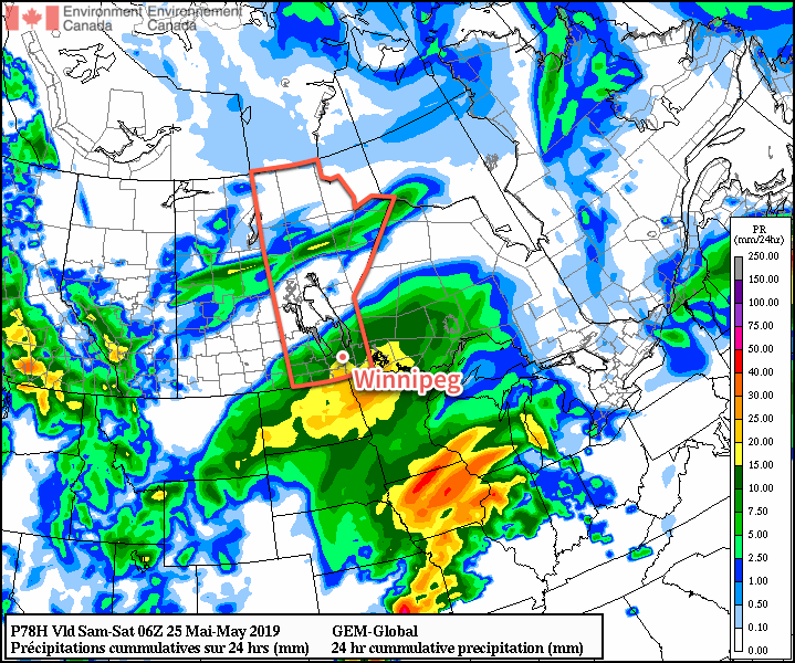 Southern Manitoba is forecast to see a more organized rainfall on Saturday.