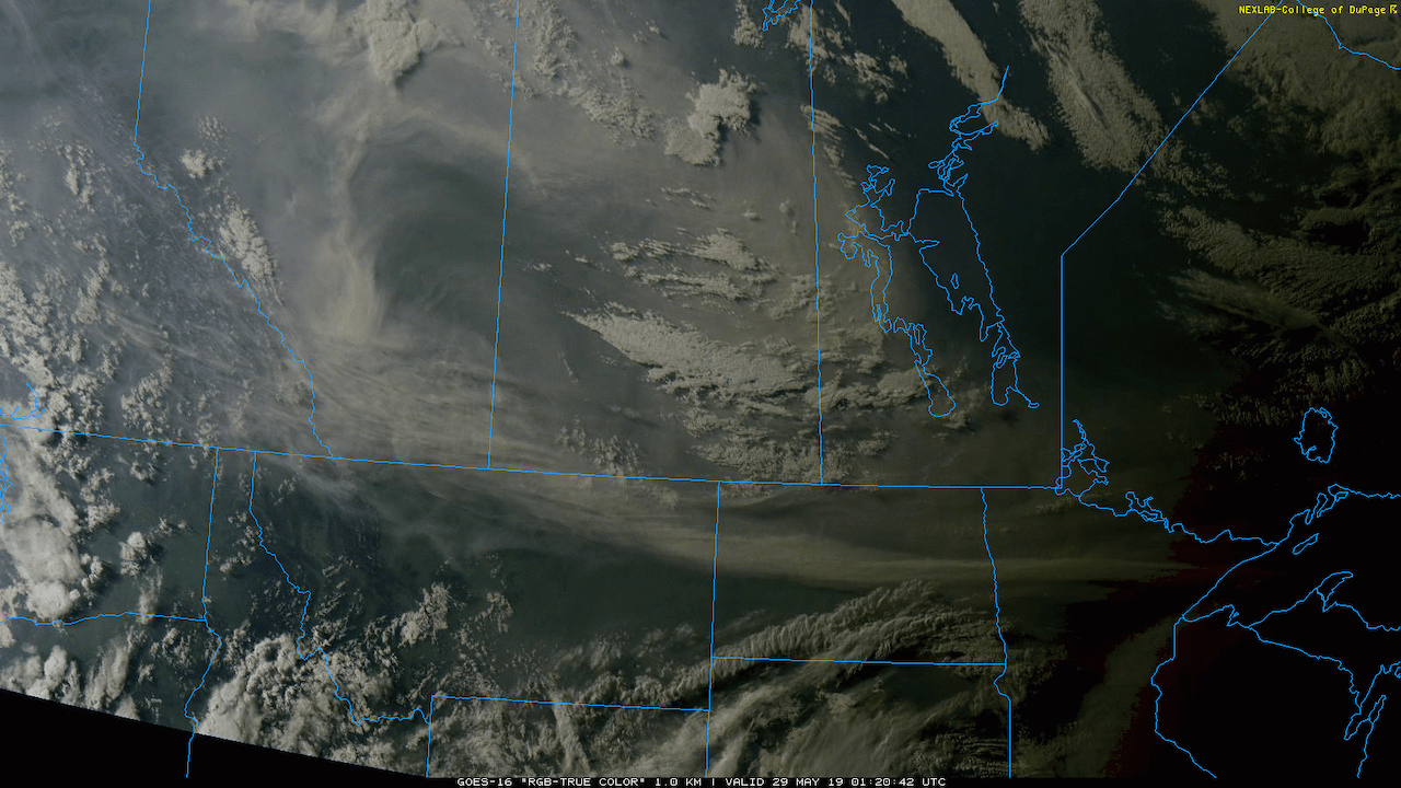 At sunset yesterday, a large plume of smoke over Alberta and Saskatchewan could is visible spreading into western Manitoba.