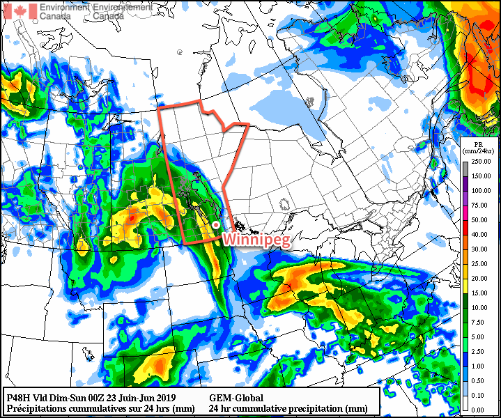 Much of southern Manitoba will see showers move through Friday night into Saturday.