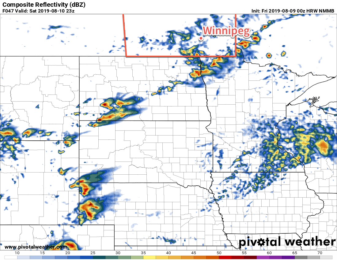 This forecast simulated RADAR reflectivity shows scattered showers across southern Manitoba on Saturday afternoon.