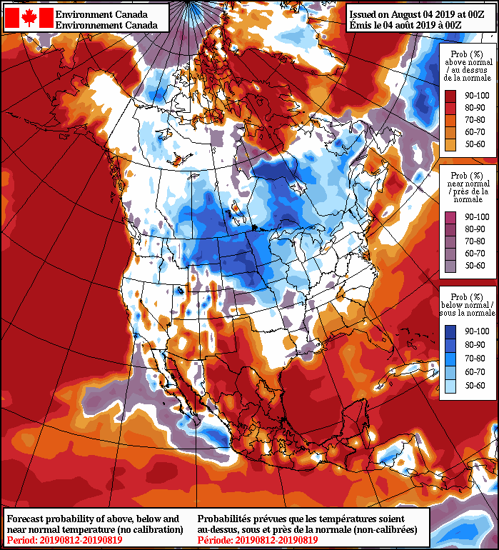 NAEFS 8-14 Day Temperature Anomaly Forecast — Valid August 12-19, 2019