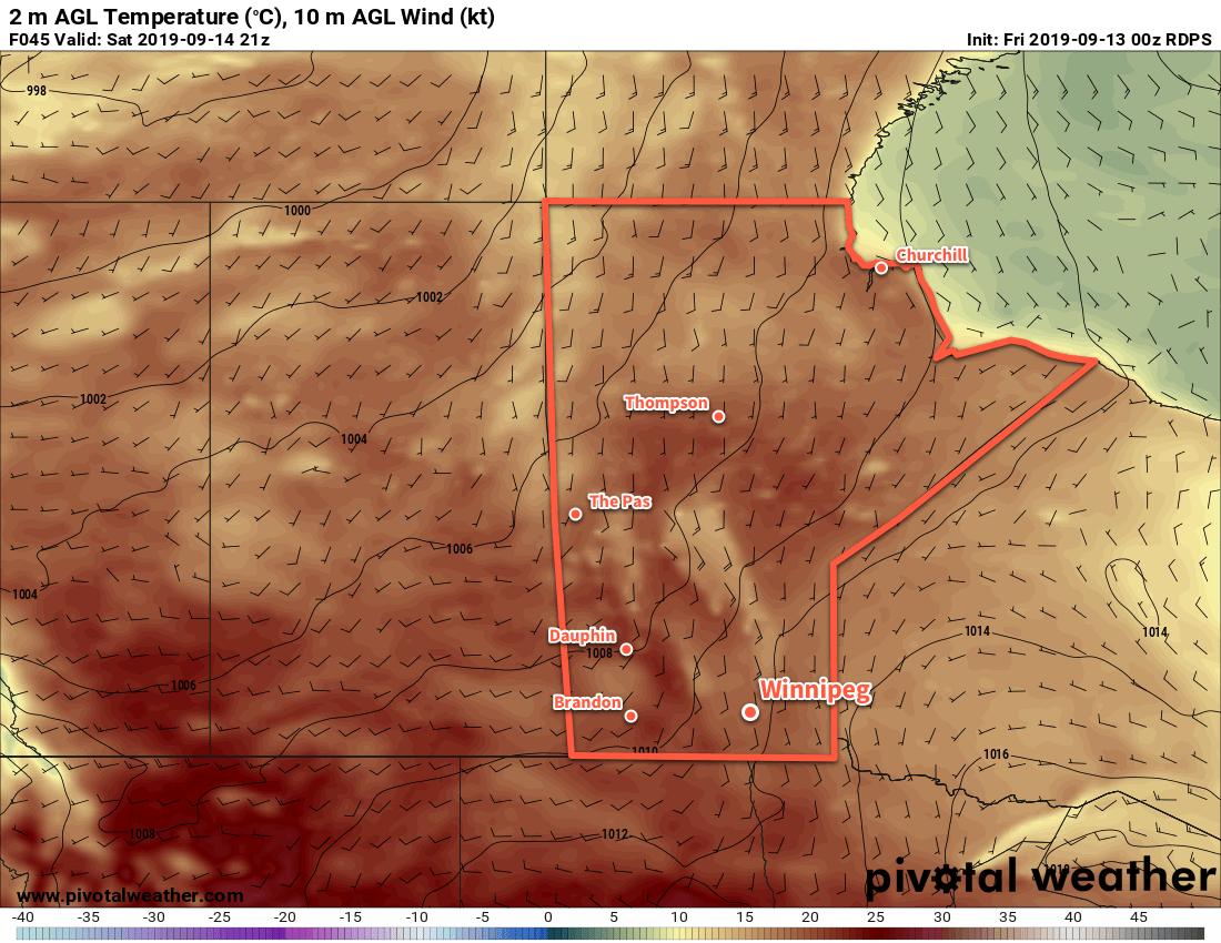 Milder temperatures near 20°C will return to southern Manitoba on Saturday.