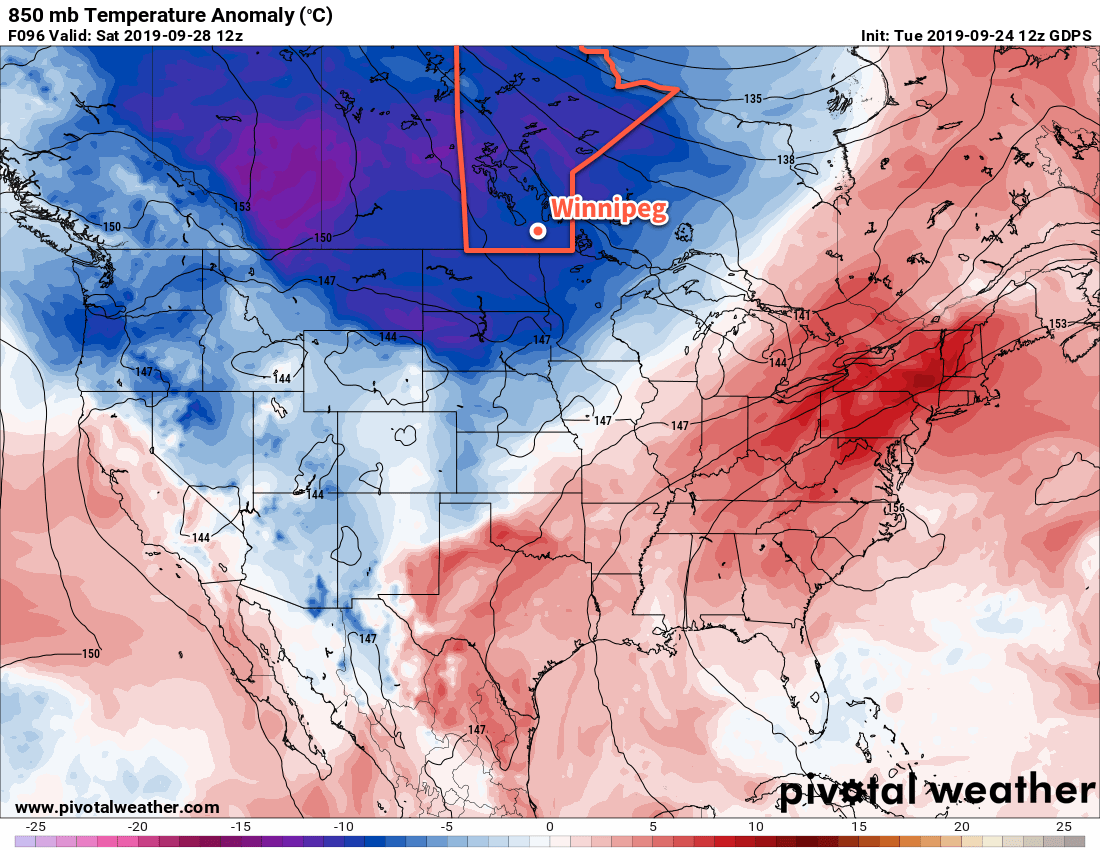 An extensive push of colder than seasonal temperatures will develop this weekend, persisting through next week.