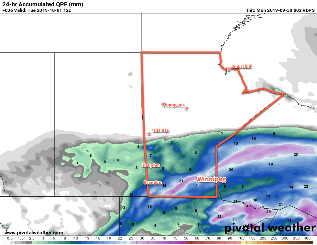 Another moderate rainfall will occur across southern Manitoba today.
