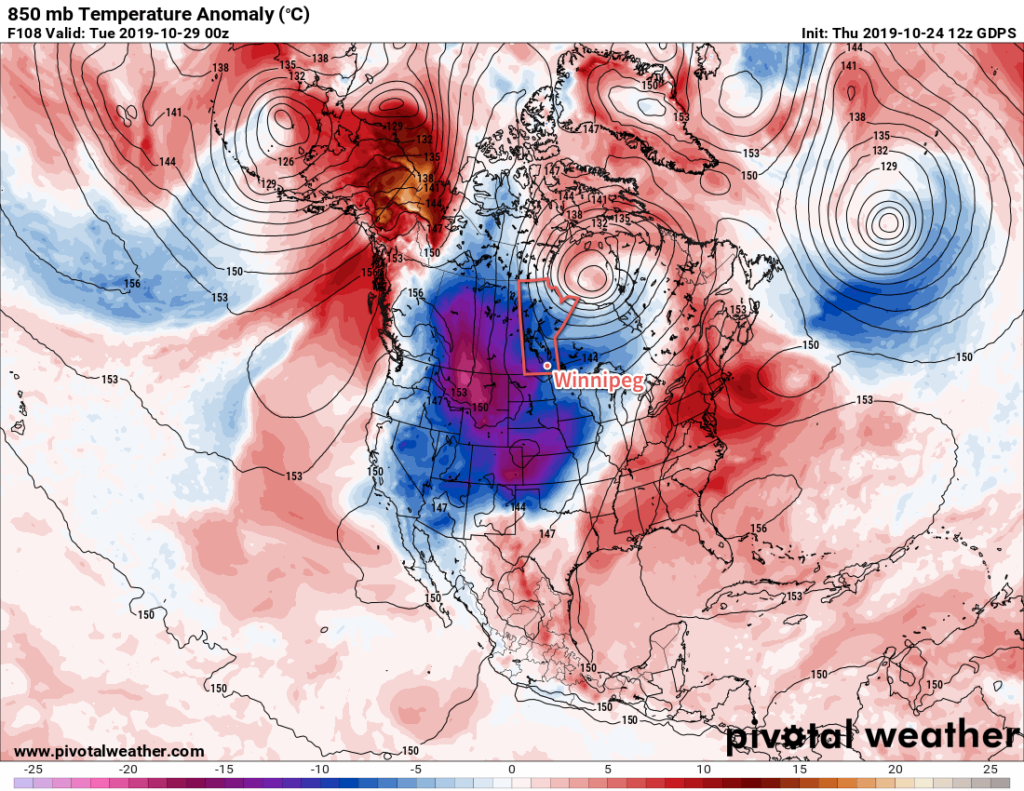 GDPS 850mb Temperature Anomaly Forecast valid 00Z Tuesday October 29, 2019