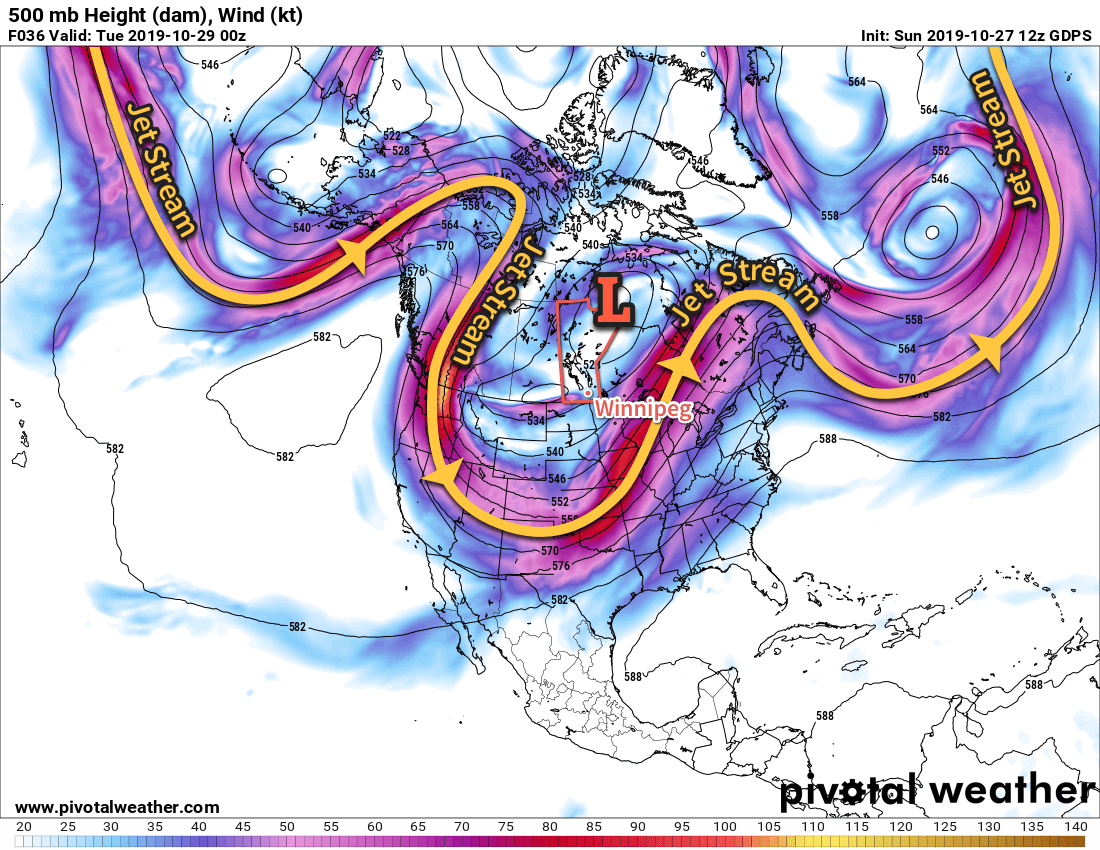 A potent upper low over Manitoba has pushed the jet stream into the southern United States.