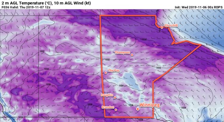 RDPS 2m Temperature Forecast valid 12Z Thursday November 7, 2019