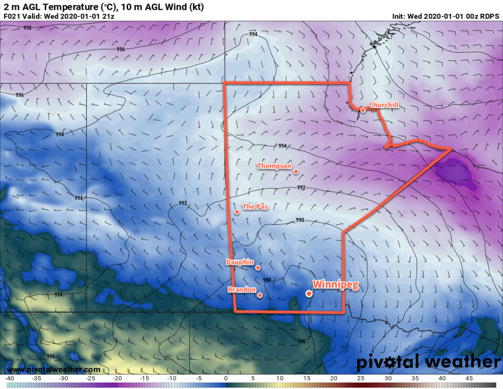 RDPS 2m Temperature Forecast valid 21Z Wednesday January 1, 2020