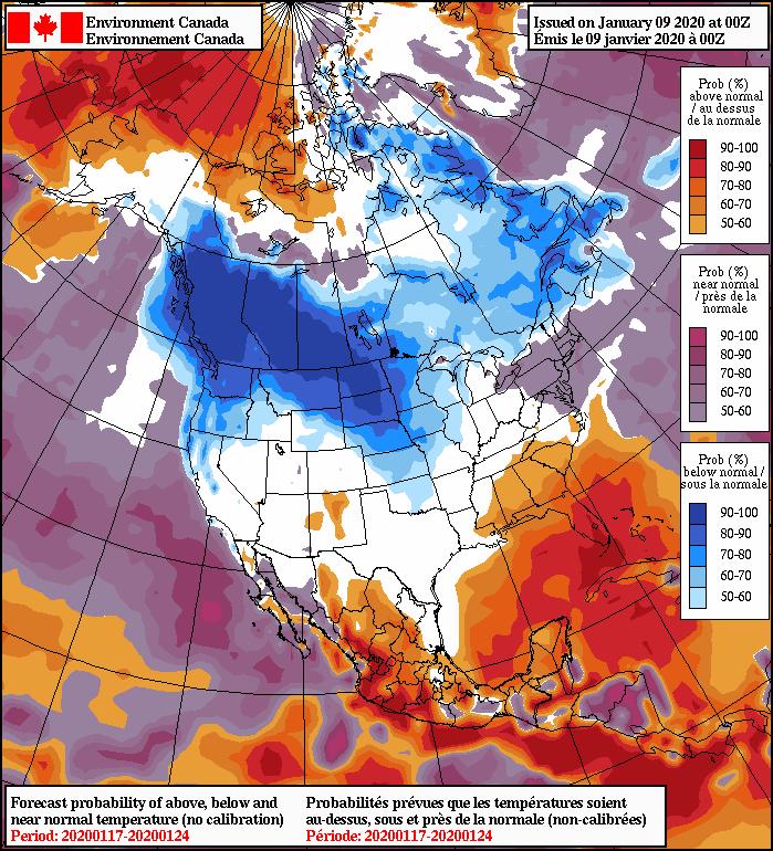 NAEFS 8-14 Day Temperature Anomaly Forecast —Valid January 17, 2020 to January 24, 2020