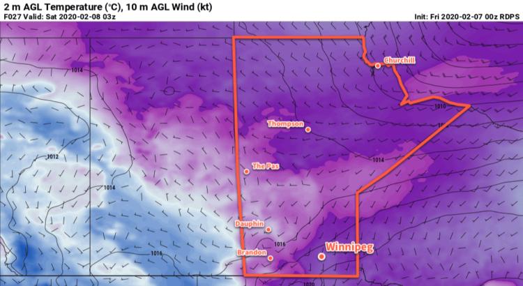 RDPS 2m Temperature Forecast valid 03Z Saturday February 8, 2020