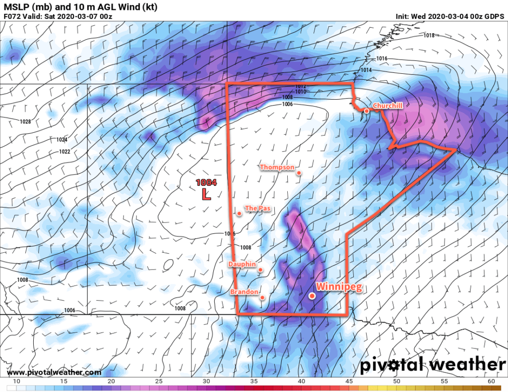 RDPS 10m Wind Forecast valid 00Z Saturday March 7, 2020