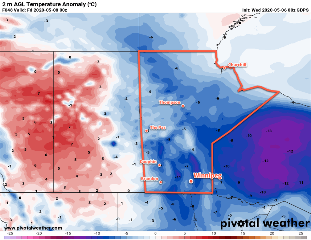 GDPS 2m Temperature Anomaly Forecast valid 00Z Friday May 8, 2020