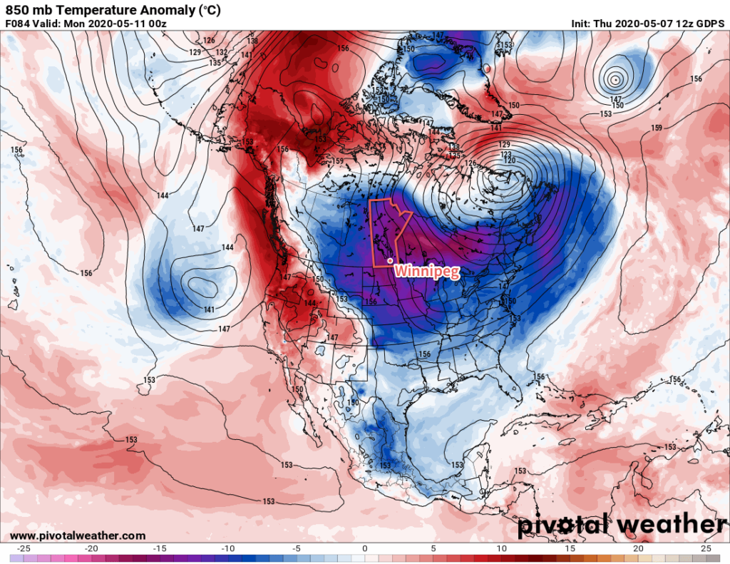 GDPS 850mb Temperature Anomaly Forecast valid 00Z Monday May 11, 2020
