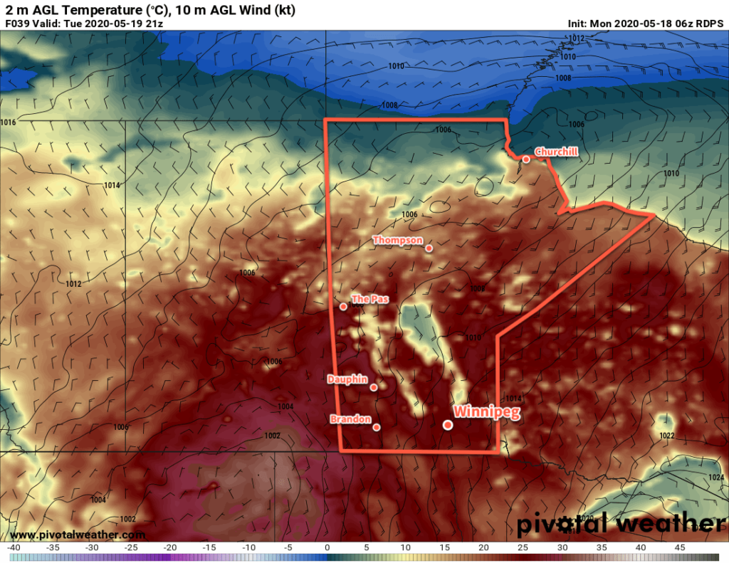 RDPS 2m Temperature Forecast valid 21Z Tuesday May 19, 2020