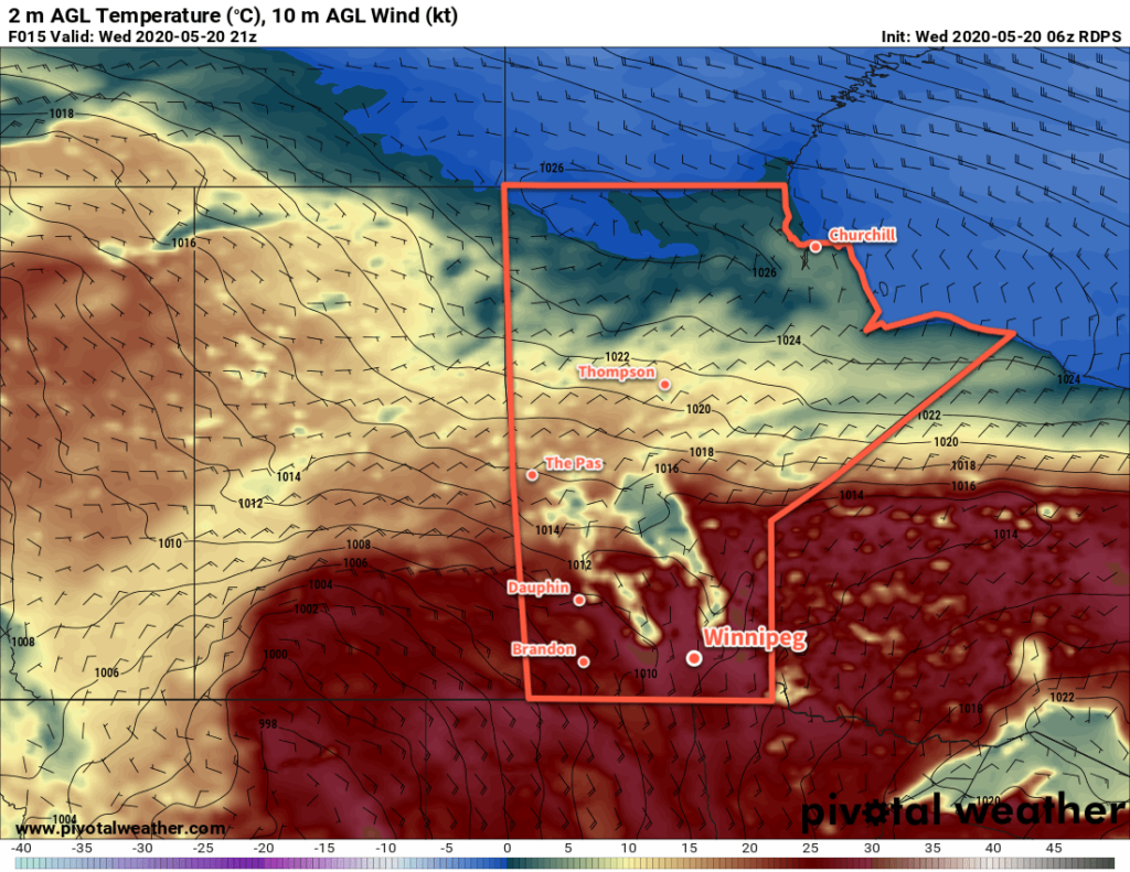 RDPS 2m Temperature Forecast valid 21Z Wednesday May 20, 2020