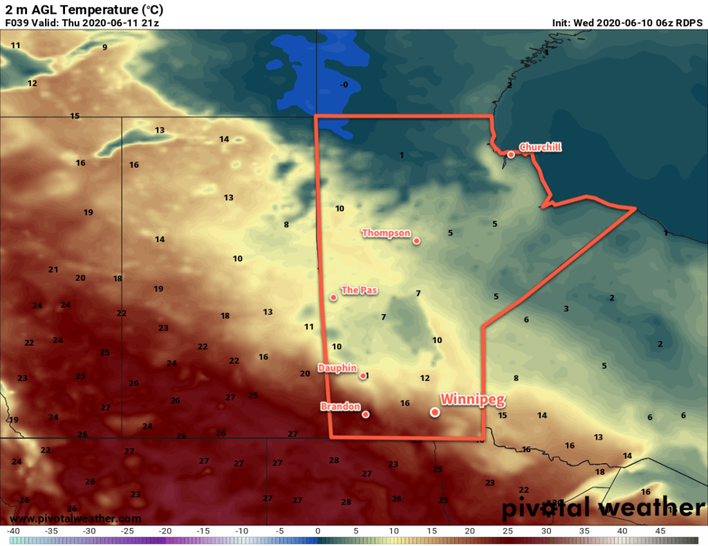 RDPS 2m Temperature Forecast valid 21Z Thursday June 11, 2020