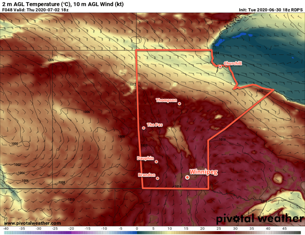 RDPS 2m Temperature Forecast valid 18Z Thursday July 2, 2020