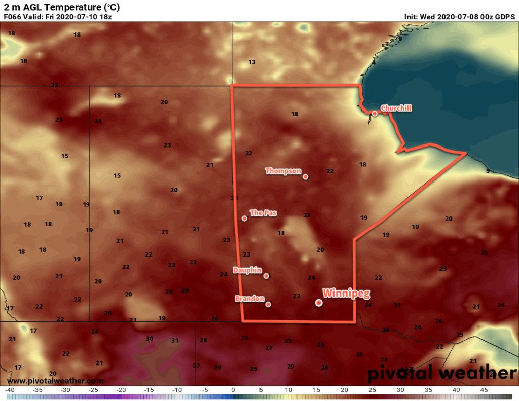 GDPS 2m Temperature Forecast valid 18Z Friday July 10, 2020
