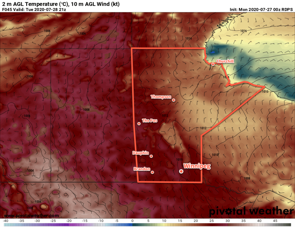 RDPS 2m Temperature Forecast valid 21Z Tuesday July 28, 2020